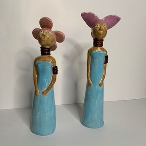 Other - Set of long Ceramic Figurines Flowered Shaped Hats